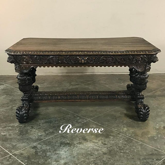 Brown 19th Century French Renaissance Writing Table With Dolphins For Sale - Image 8 of 13