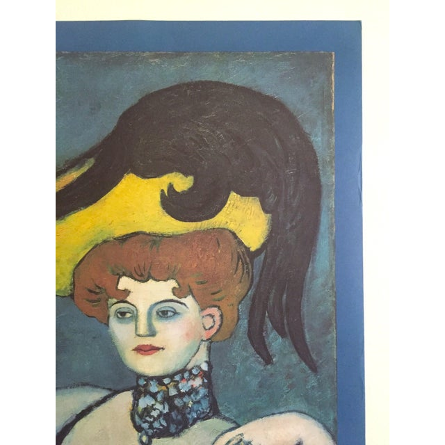 """1980s Pablo Picasso Vintage 1985 Lithograph Print Exhibition Poster """" Courtesan With Jeweled Collar """" 1901 For Sale - Image 5 of 13"""