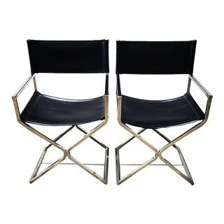 Mid Century Modern Virtue of California Chrome Vinyl Director Style Chairs- A Pair For Sale