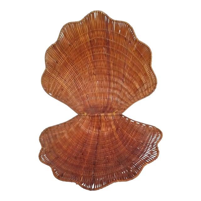 Large Vintage Wicker Shell Hinged Basket For Sale