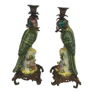 Porcelain Parrot Candlesticks- A Pair