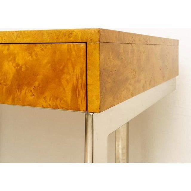 Metal Burlwood and Nickel Writing Desk by Milo Baughman For Sale - Image 7 of 12