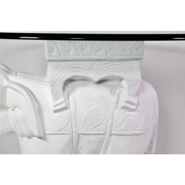 1970s Hollywood Regency White Gesso Solid Teak Elephant Side Table For Sale In Los Angeles - Image 6 of 9