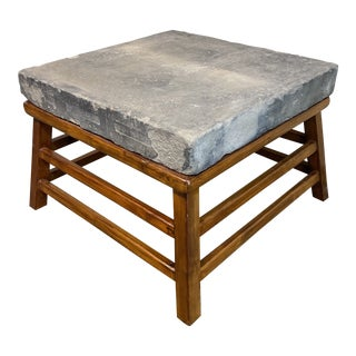 Early 20th Century Chinese Stone + Elm Side Table For Sale