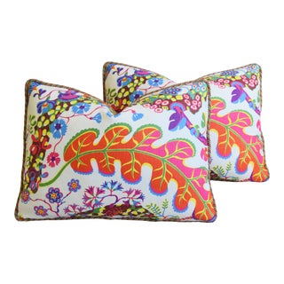 "Designer Josef Frank Floral Linen & Velvet Feather/Down Pillows 23"" X 17"" - Pair For Sale"