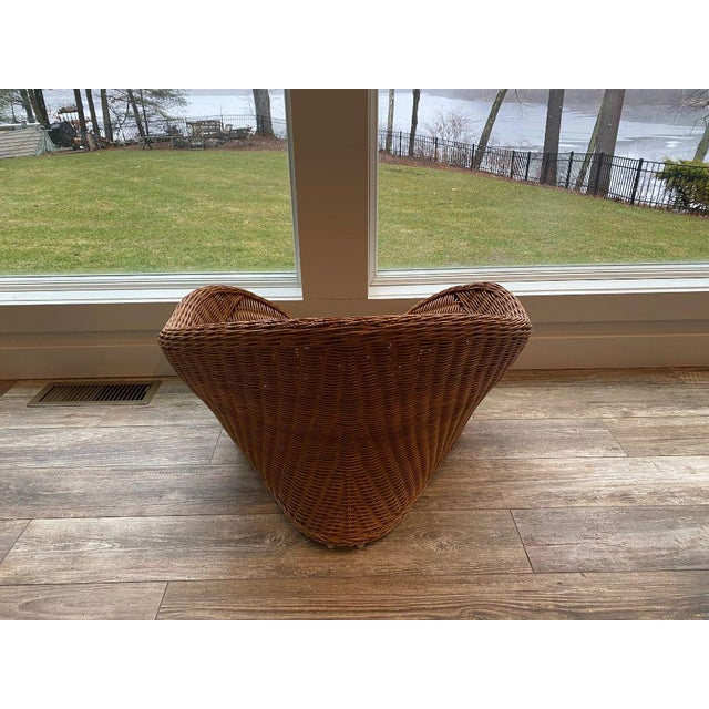 Boho Chic 1950s Mid Century Modern Wicker Chair For Sale - Image 3 of 9