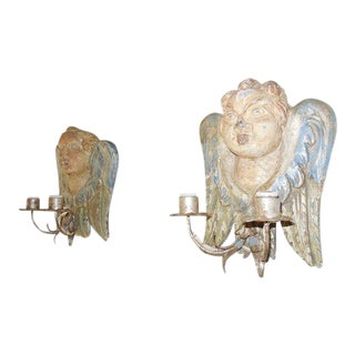 Italian Hand Carved & Painted Cherub Wood Sconces For Sale