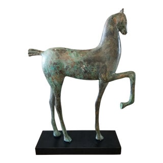 Bronze Verdigris Etruscan Horse on Base For Sale