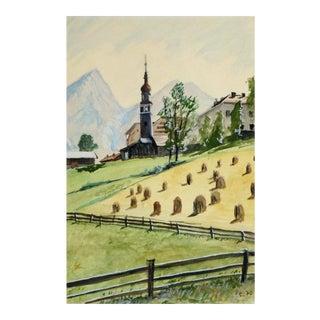 Vintage Painting of Hay Bales, C. 1960