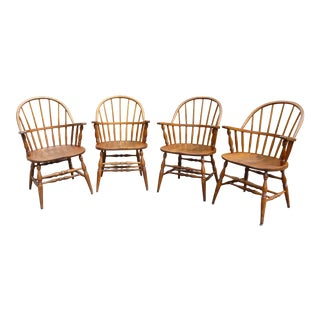 Medium Oak Bowback Windsor Chairs - Set of 4