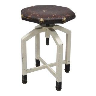 Antique Industrial Steel Burgundy Distressed Leather Adjustable Work Stool Seat