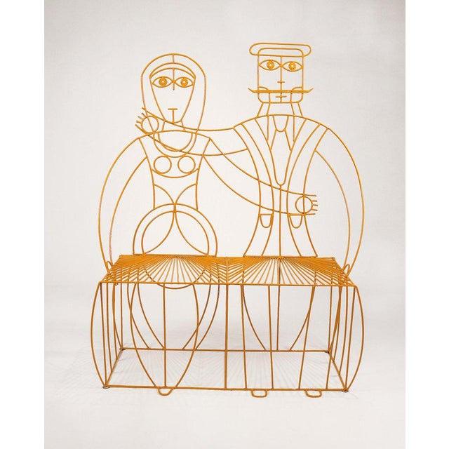 Metal John Risley Monsieur & Mademoiselle Patio Bench Sculpture For Sale - Image 7 of 8