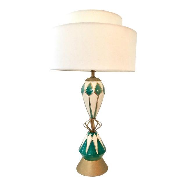 huge selection of 4cbcb b7aad Vintage Mid-Century Modern Ceramic Glaze & Brass Sputnik Lamp
