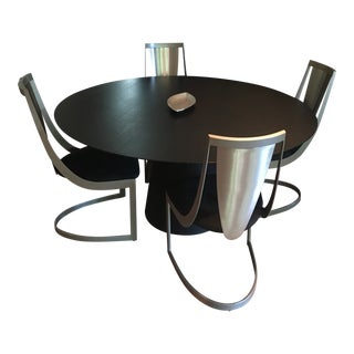 Contemporary Dining Table With Matching Chairs Set For Sale