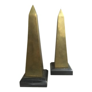 1960s Vintage Brass and Marble Obelisk Bookends - A Pair For Sale
