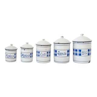 Antique French Enamelware Kitchen Canisters Jars - Set of 5 For Sale