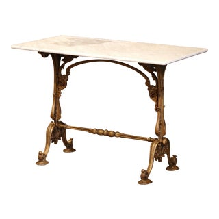19th Century French Painted Iron Bistrot Table With White and Grey Marble Top