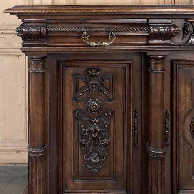 19th Century French Walnut Henri II Buffet For Sale - Image 12 of 13