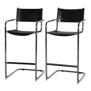Mart Stam Cantilever Chrome Leather Bar Stools, Italian - Pair For Sale