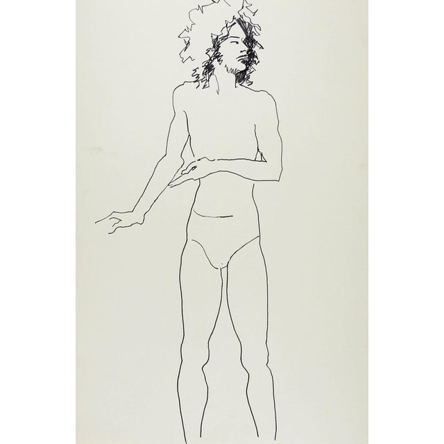 Contemporary Vintage Pen & Ink Drawing Study Male For Sale - Image 3 of 3