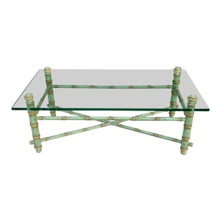 1950s Hollywood Regency Glass Top Coffee Table For Sale