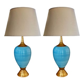 A Striking Pair of American Gerald Thurston Mid-Century Light Blue Ovoid Ceramic Lamps For Sale