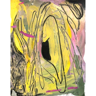 Contemporary Bright Pink & Yellow Abstract Painting on Paper For Sale