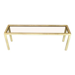 1970s Mid-Century Modern Phyllis Morris Faux Parchment Console Table For Sale