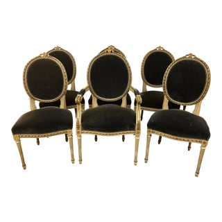 Set of Six French Antique Cream and Giltwood Dining Chairs Velvet Gray Fabric For Sale