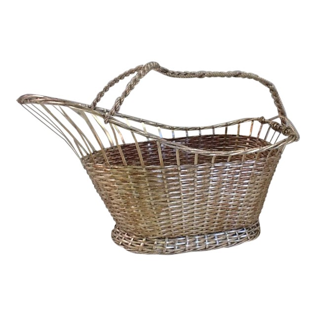 1970s Silver Plate Woven Wine Bottle Basket - Image 1 of 6