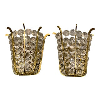 1930s French Crystal Sconces - a Pair For Sale