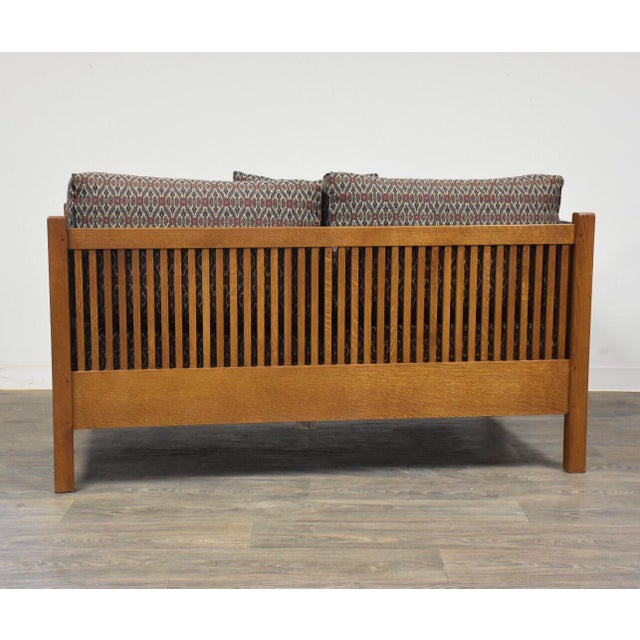 2000 - 2009 Gustav Stickley Spindled Cube Settee For Sale - Image 5 of 11