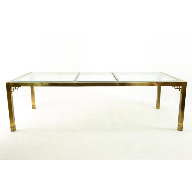 Mastercraft Mid Century Solid Brass and Glass Expanding Dining Table For Sale - Image 11 of 13
