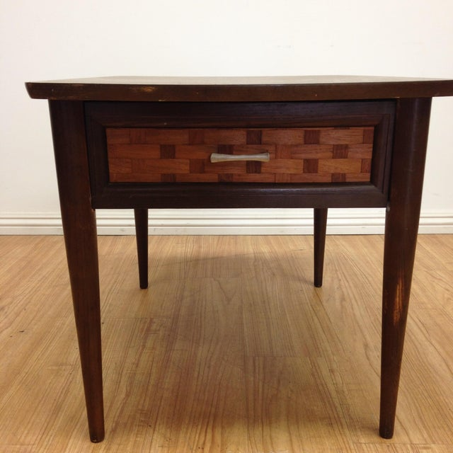 Mid-Century Woven Front & Formica End Table - Image 4 of 7