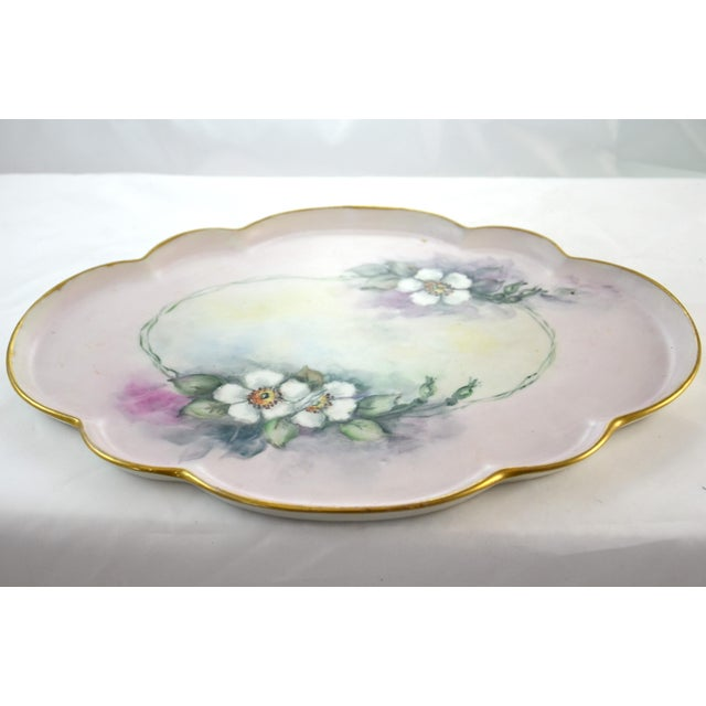 Edwardian Antique Limoges Floral Tray For Sale - Image 3 of 7
