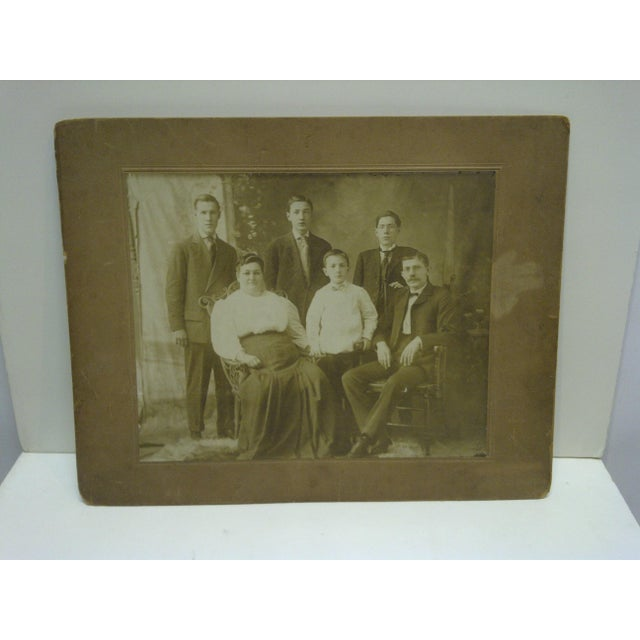 """Photography Vintage 1920s """"Family Portrait"""" Mounted Black & White Photograph For Sale - Image 7 of 7"""