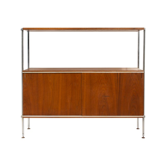 Walnut and Aluminum Cabinet by Hugh Acton For Sale