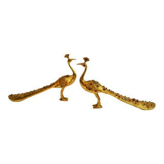 Brass & Beats Peacock Shoe Horn Sculptures - Pair For Sale