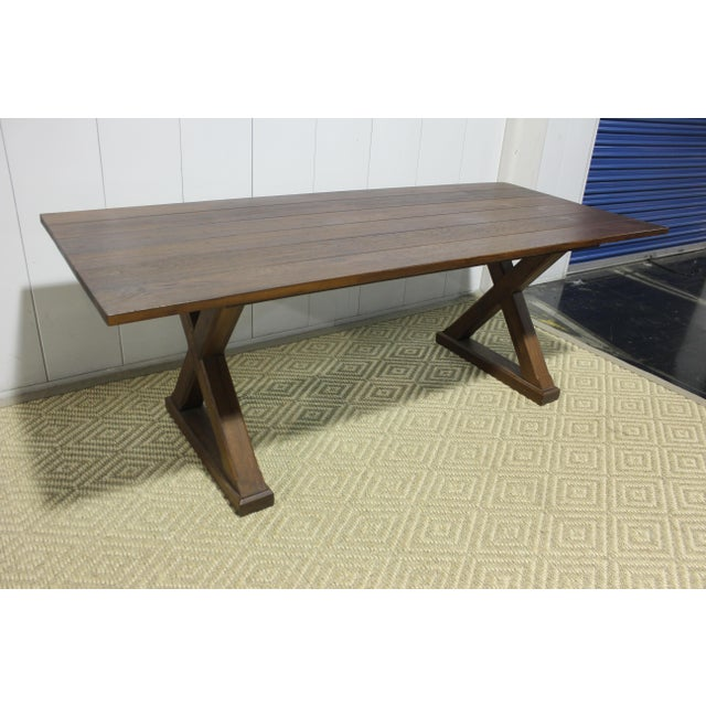 Custom X Base Mahogany Dining Table For Sale In Los Angeles - Image 6 of 12