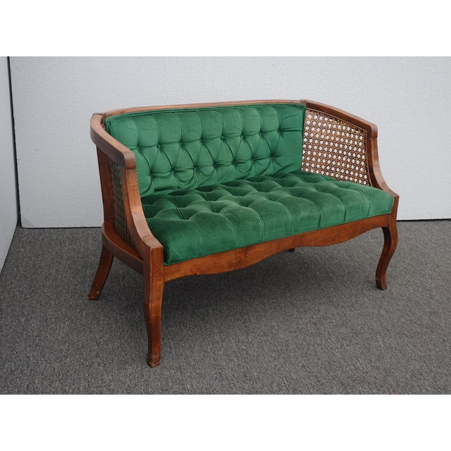 French Country Vintage French Country Tufted Green Velvet Settee Loveseat W Cane #2 For Sale - Image 3 of 13