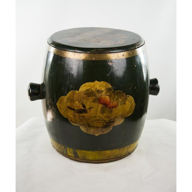 Chinese lacquer painted rice grain storage bin having fruit and bird painted design and Chinese character inscribed...