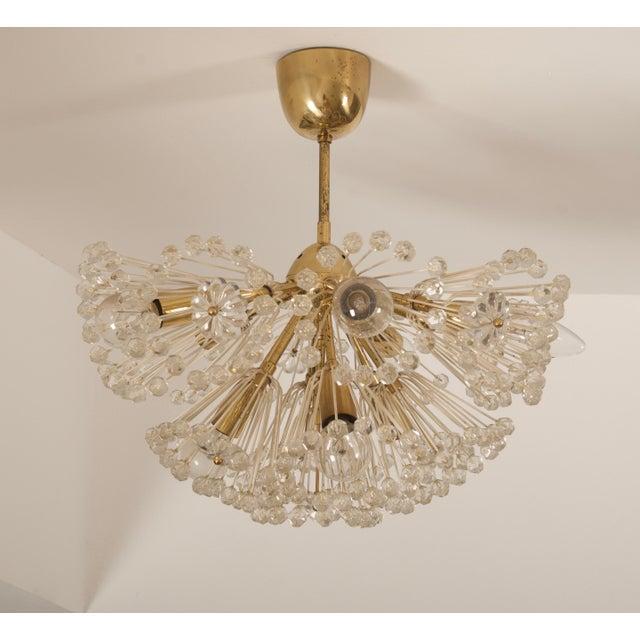 Impressive Emil Stejnar Brass and Glass Sputnik Snowball Chandelier For Sale - Image 6 of 9