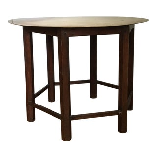 Mid-Century Hexagonal Dining Table With Brass Circular Top For Sale