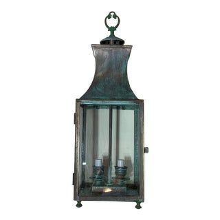 1960s Vintage Verdigris Hanging Brass Lantern For Sale