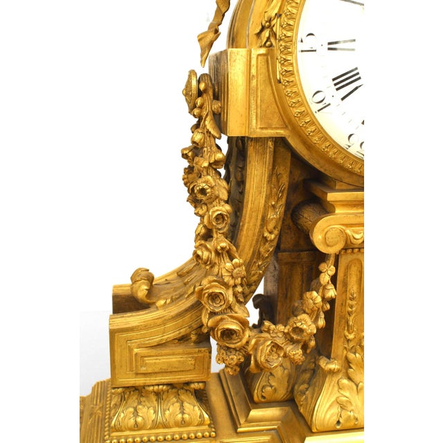 French Louis XVI Style '19th Century' Gilt Bronze Mantle Clock For Sale - Image 4 of 7