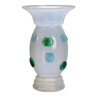 Loetz School Handcrafted Art Glass Vase with Applied Decoration, circa 1920 For Sale