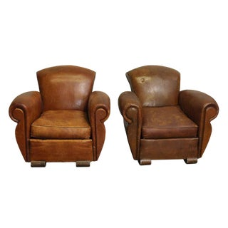 Vintage Mid Century Leather Club Chairs- A Pair For Sale