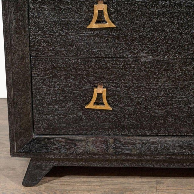 Pair of Mid-Century Modern Silver Cerused Chests With Stylized Brass Pulls For Sale - Image 4 of 10