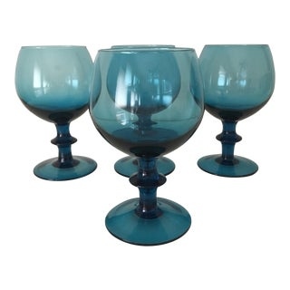 Italian Mid-Century Turquoise Blue Goblets - Set of 4