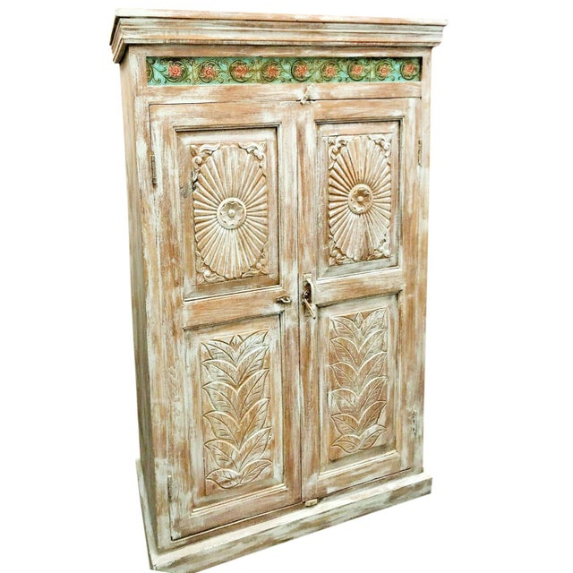 Farmhouse 1920s Antique Carved Wood Armoire For Sale - Image 3 of 6